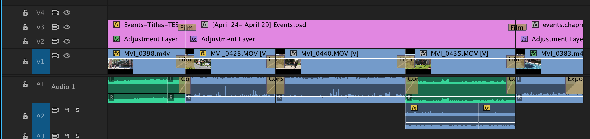 Video files in the Adobe Premiere Timeline
