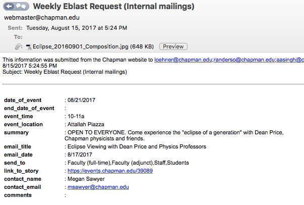 screenshot of email submission