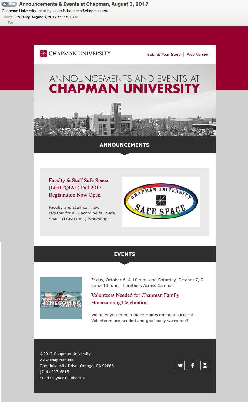 Thursday Chapman email sample