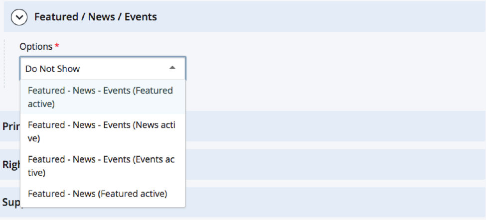 showing dropdown menu of options for featured/news/events widget