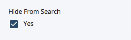 hide from search check box option