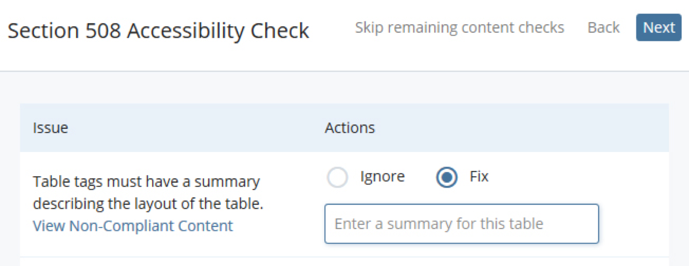 screenshot of built-in accessibility checker on cascade cms
