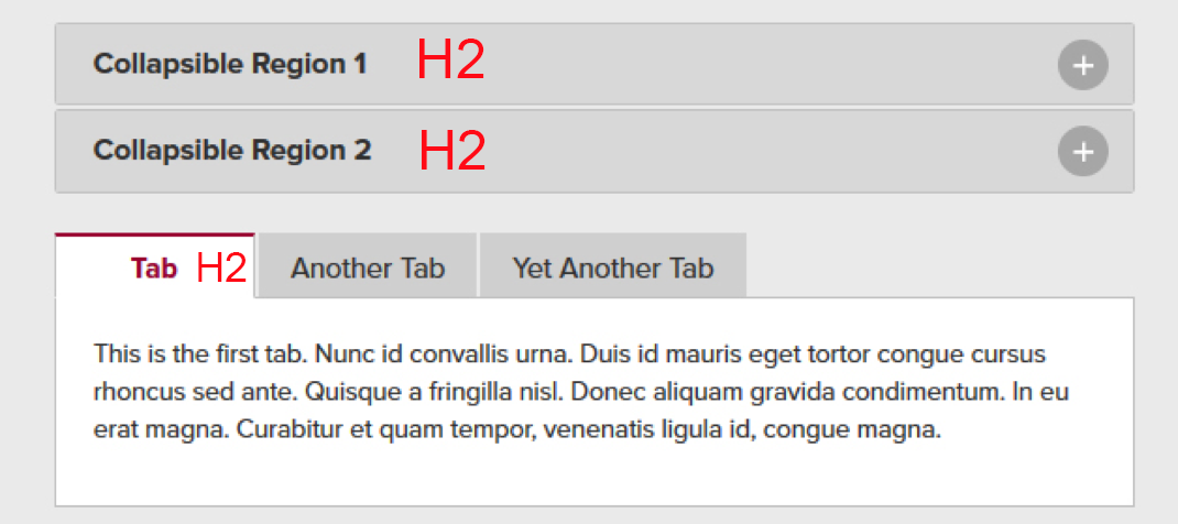 screenshot of collapsible regions and tab widget with heading annotations