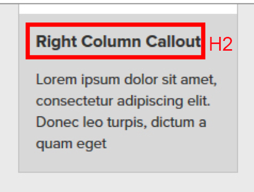screenshot of right column call out with heading annotated