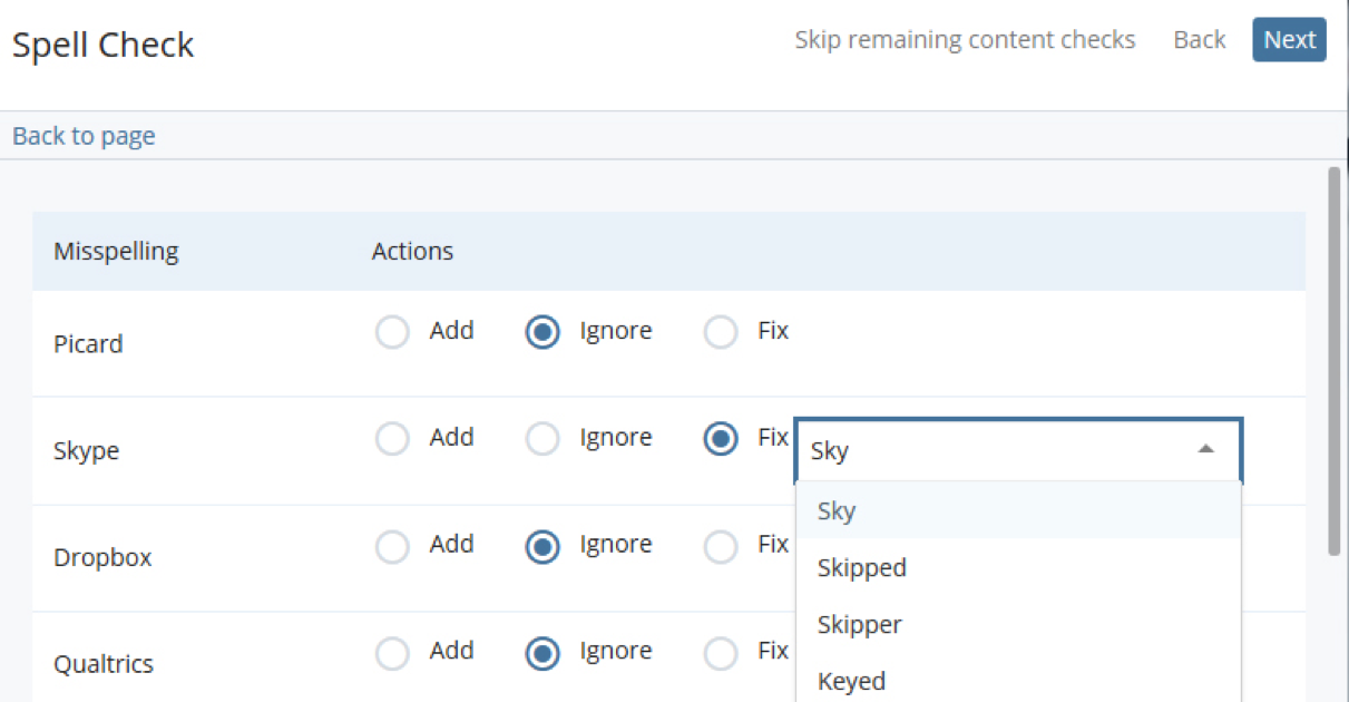 screenshot of built-in spell check in cascade cms