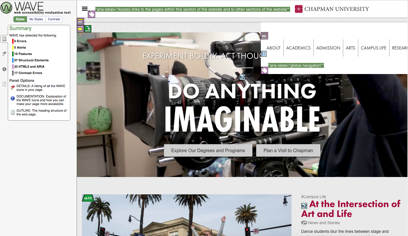 screenshot of wave tool activated on chapman's homepage