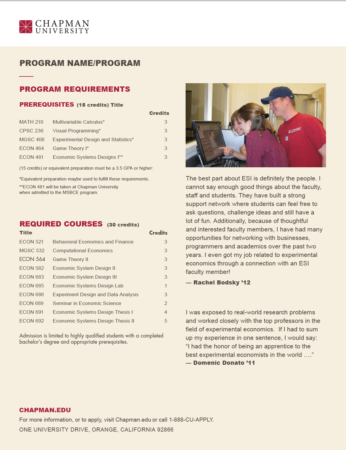 Chapman university One-Sheet option 2 page 2