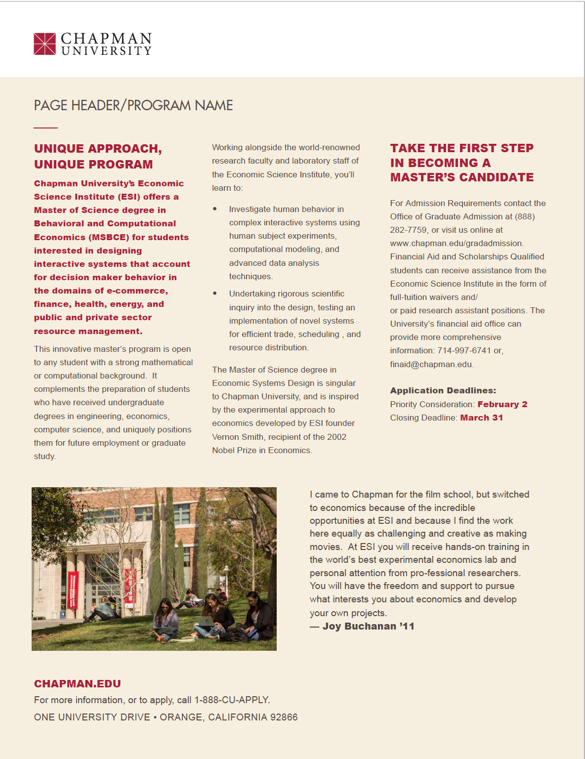 Chapman University One-sheet option 3 front