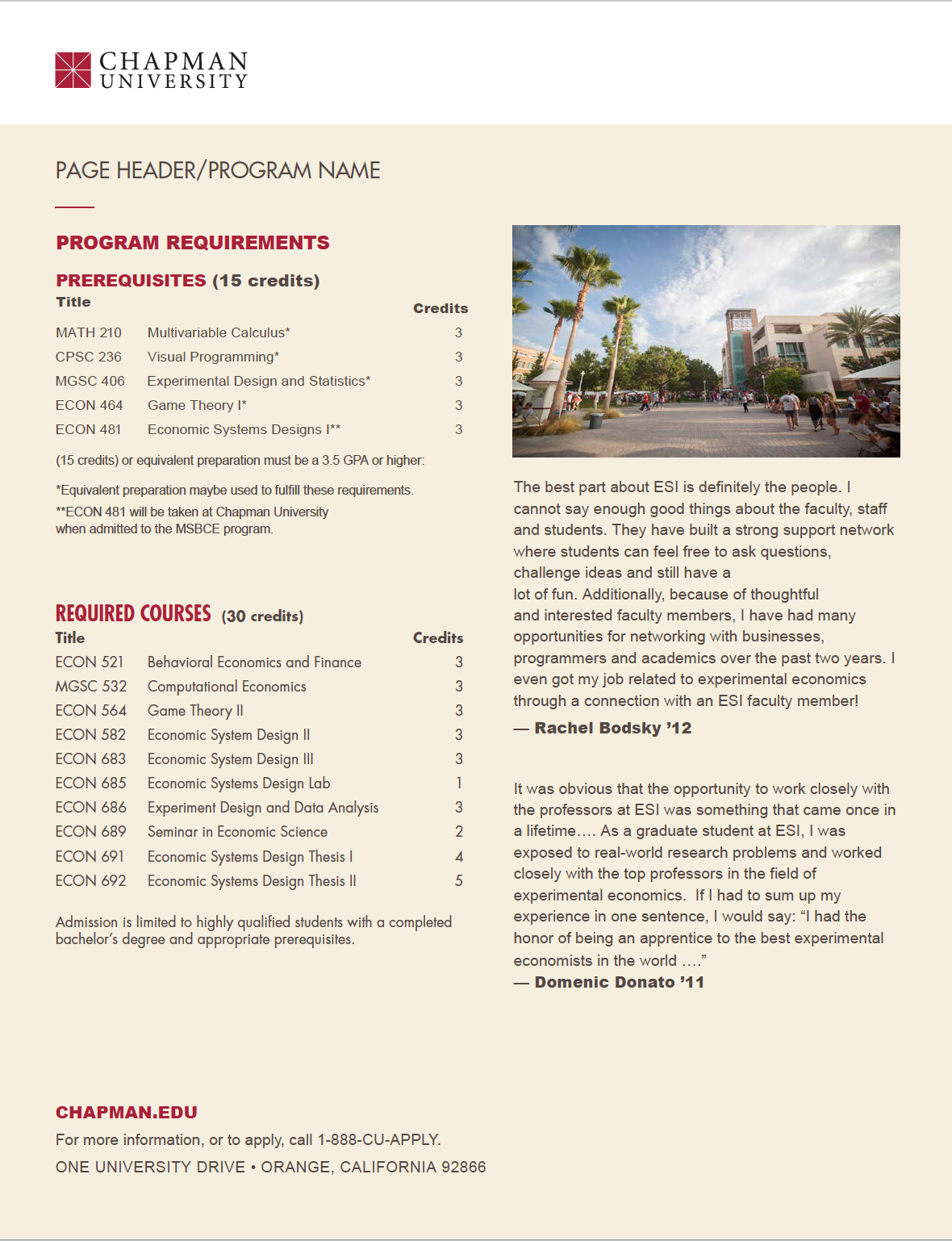 Chapman university one-sheet option 3 back