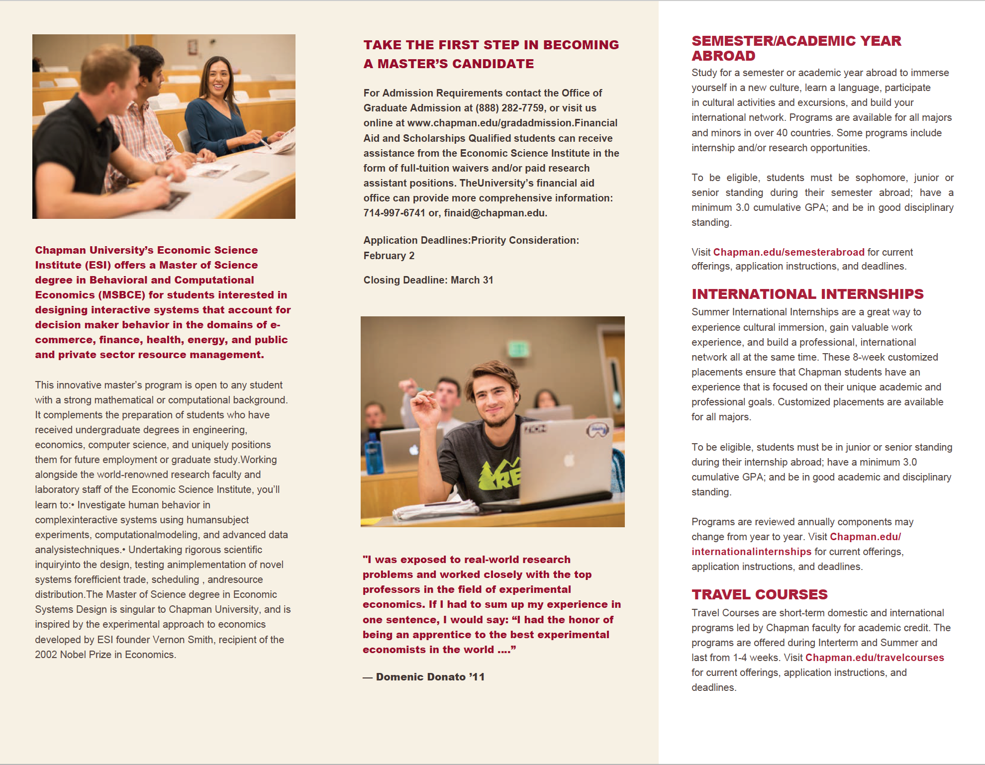 Chapman University tri-fold template - back